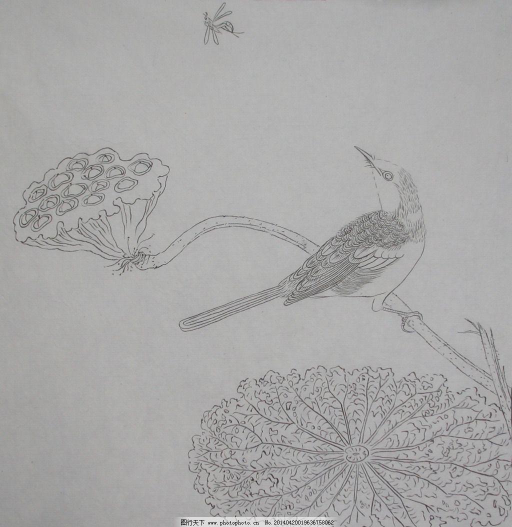 白描 雕刻 荷花 花鸟 雕刻