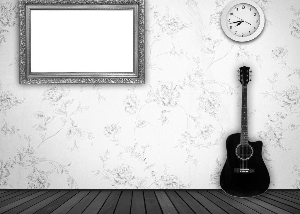 边框相框 底纹边框 地板 挂钟 吉他 静物 木地板 空白相框设计素材
