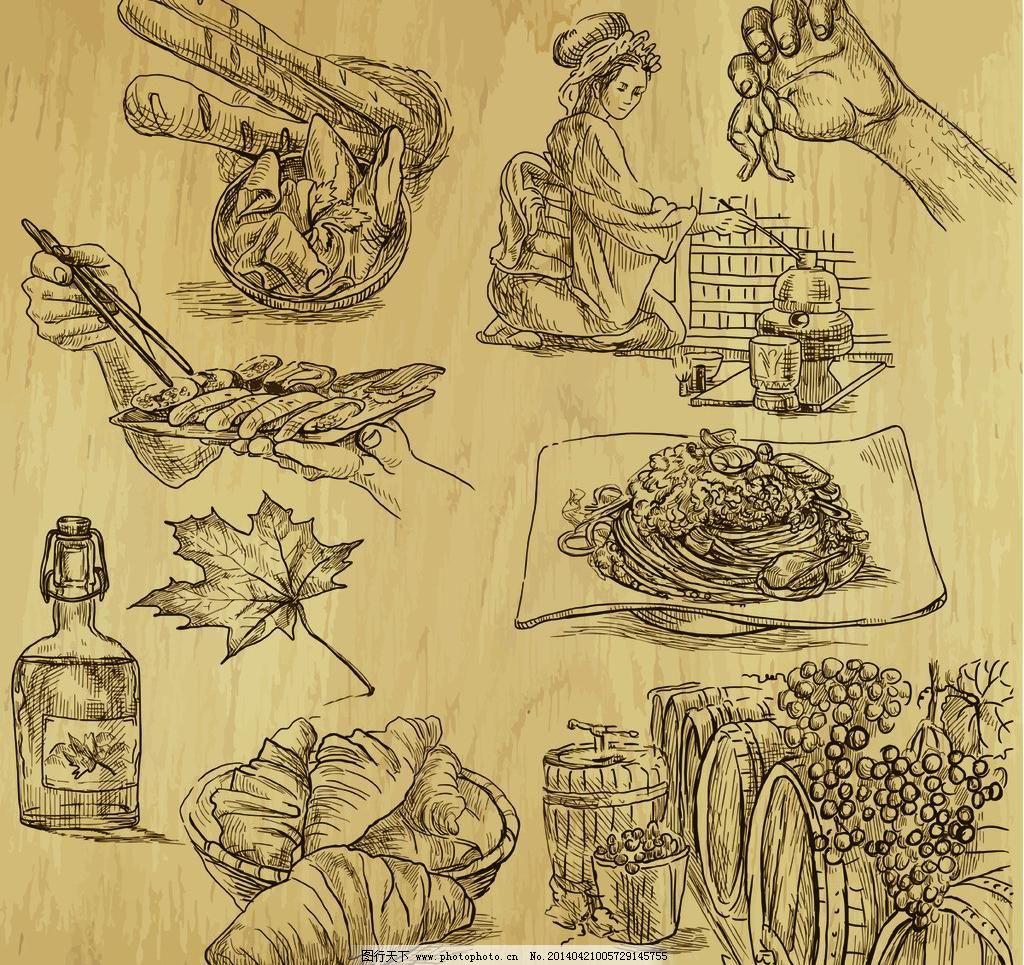 手绘美食 啤酒 手绘 线稿 插画 速写 素描 食物 咖啡厅 西餐 手绘比萨