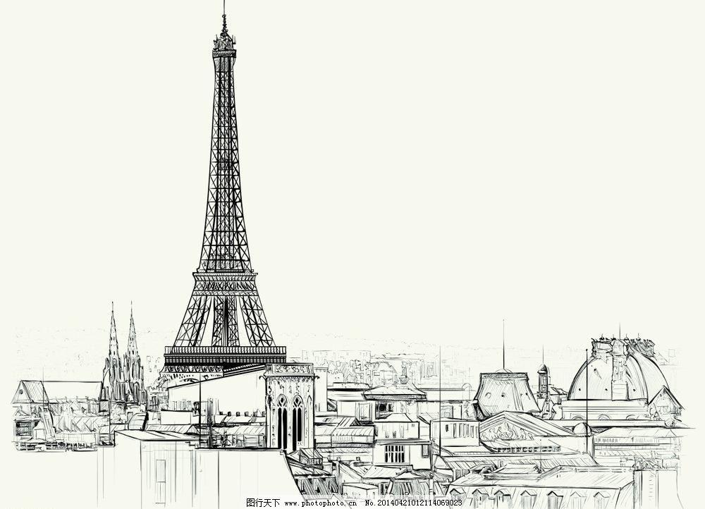 巴黎铁塔模板下载 巴黎铁塔 手绘 建筑 情人节 埃菲尔铁塔 浪漫巴黎