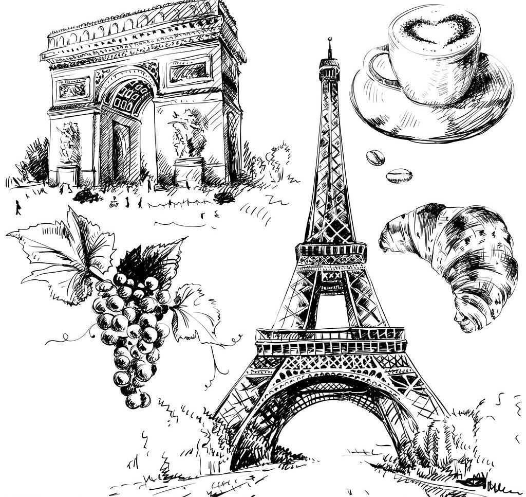 巴黎铁塔模板下载 巴黎铁塔 手绘 建筑 咖啡 情人节 埃菲尔铁塔 浪漫