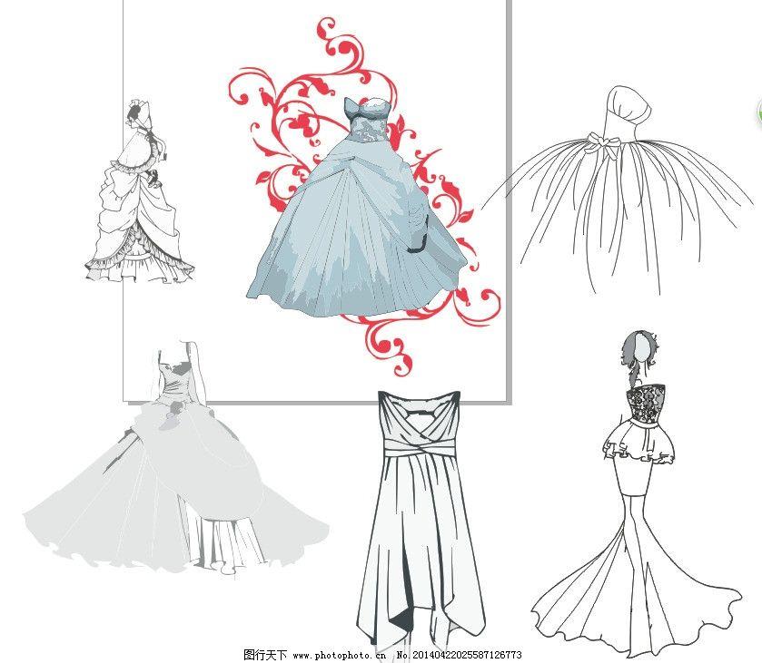 婚纱礼服设计线稿 婚纱 礼服 设计 线稿 手绘 手稿 生活用品 生活百科