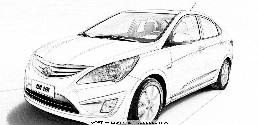 汽车素描效果 铅笔画 素描画 源文件
