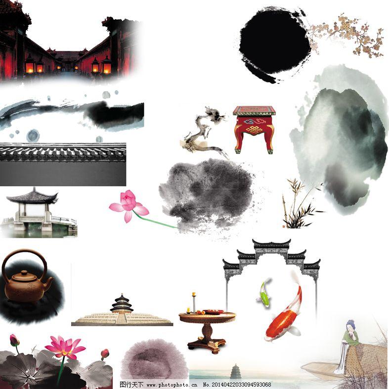 中国风古典建筑水墨素材
