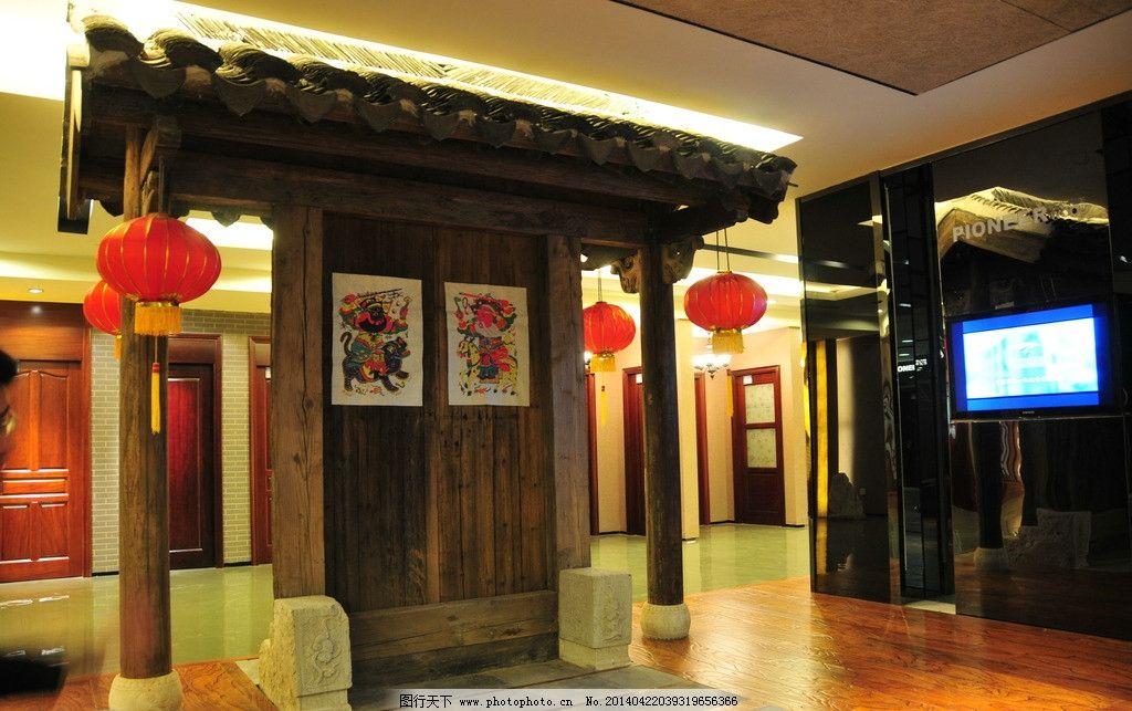 中式建筑 灯笼 中式酒店 中式饭店 酒店 饭店 中式外观 屋檐 室内摄影图片