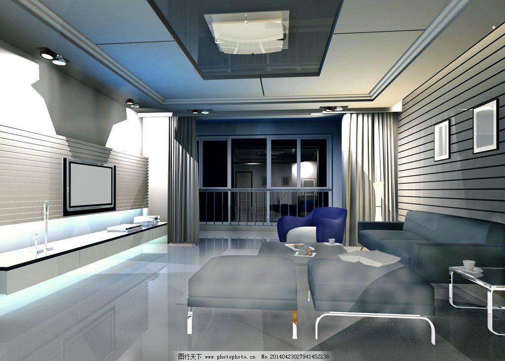 客厅效果图 3dmax        室内      设计 室内设计 环境设计 72dpi