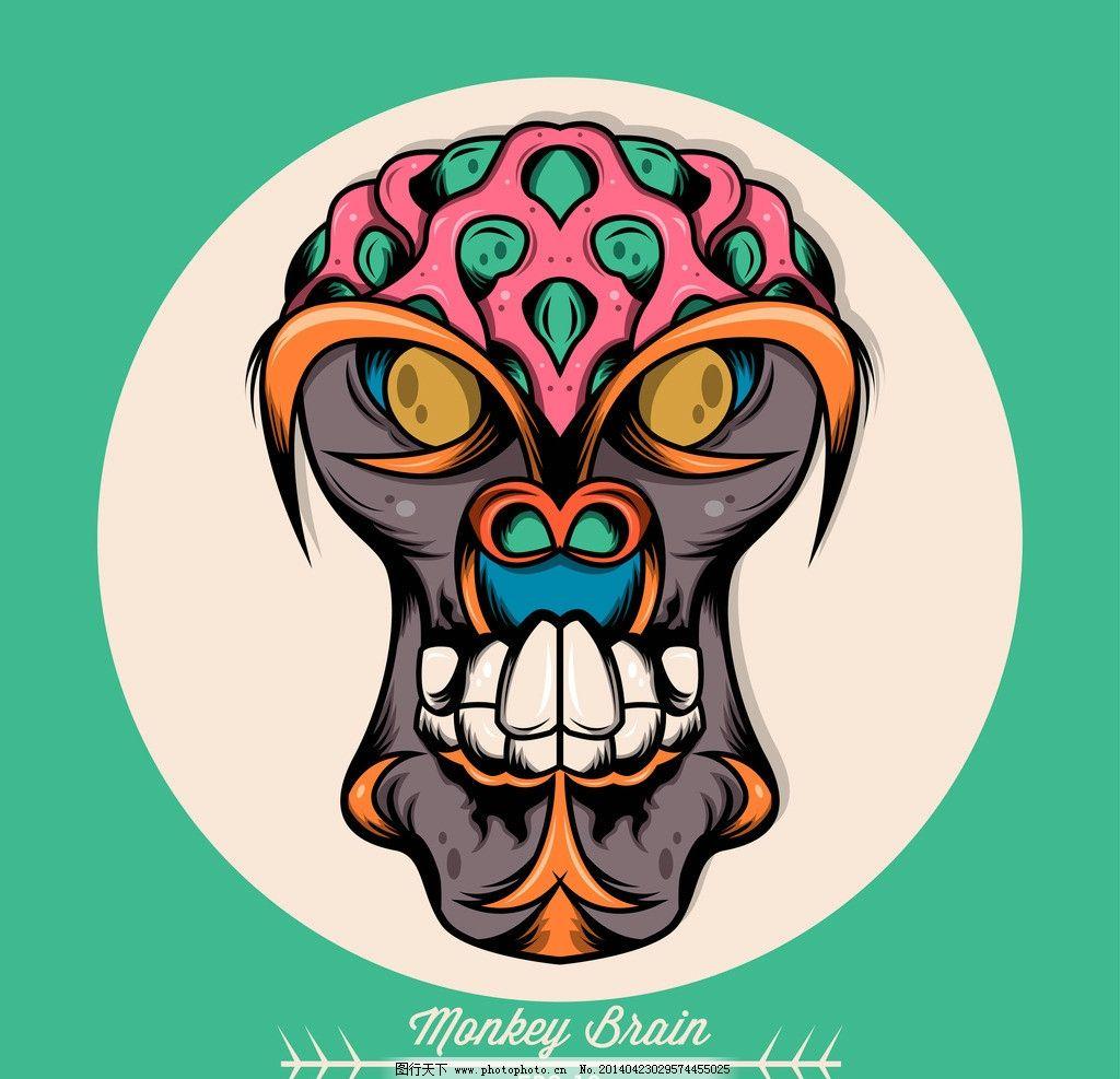 怪物 怪兽 外星人 恐怖头像 手绘 卡通插画 创意设计 时尚 印花 图案