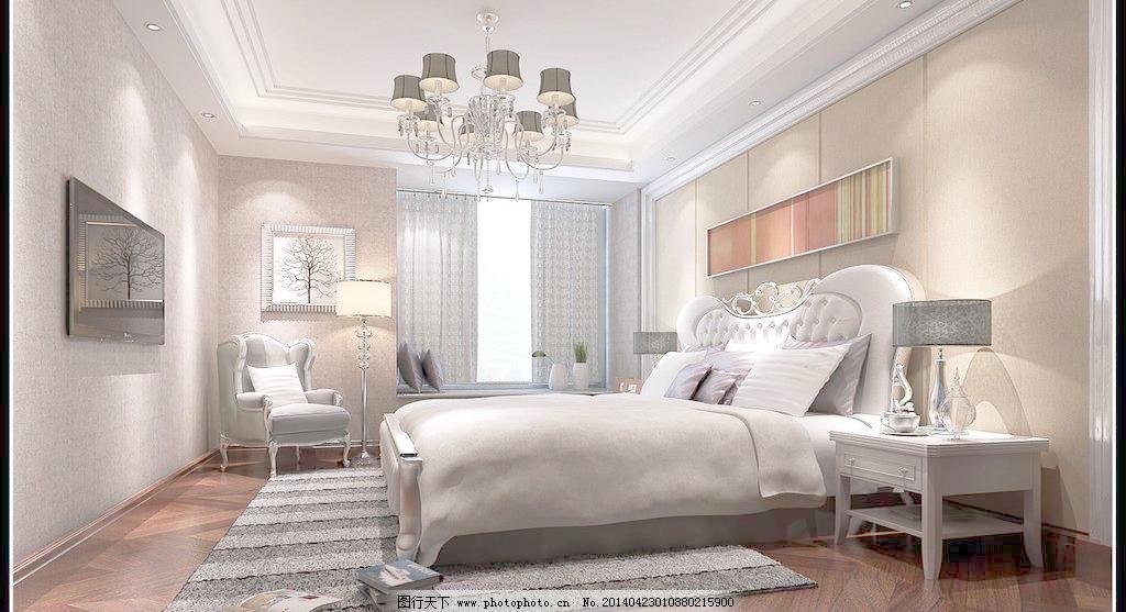 温馨卧室模板下载 温馨卧室 现代      床铺 简欧 新古典 欧式 家庭图片