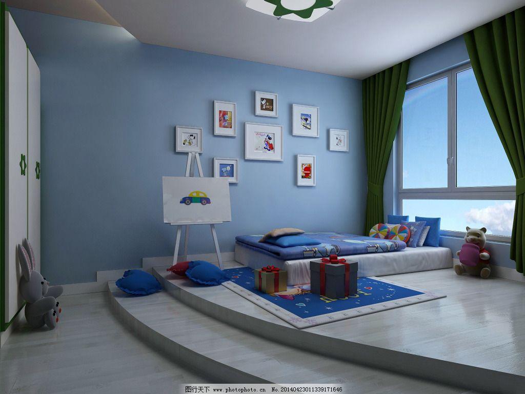 蓝色卧室设计 蓝色卧室设计免费下载 儿童房 室内 家居装饰素材