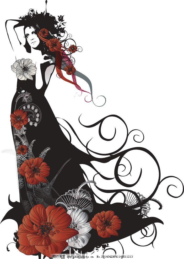 手绘服装设计 花卉 花纹 潮流 设计 性感 时装手稿 女孩 女人 时尚 少