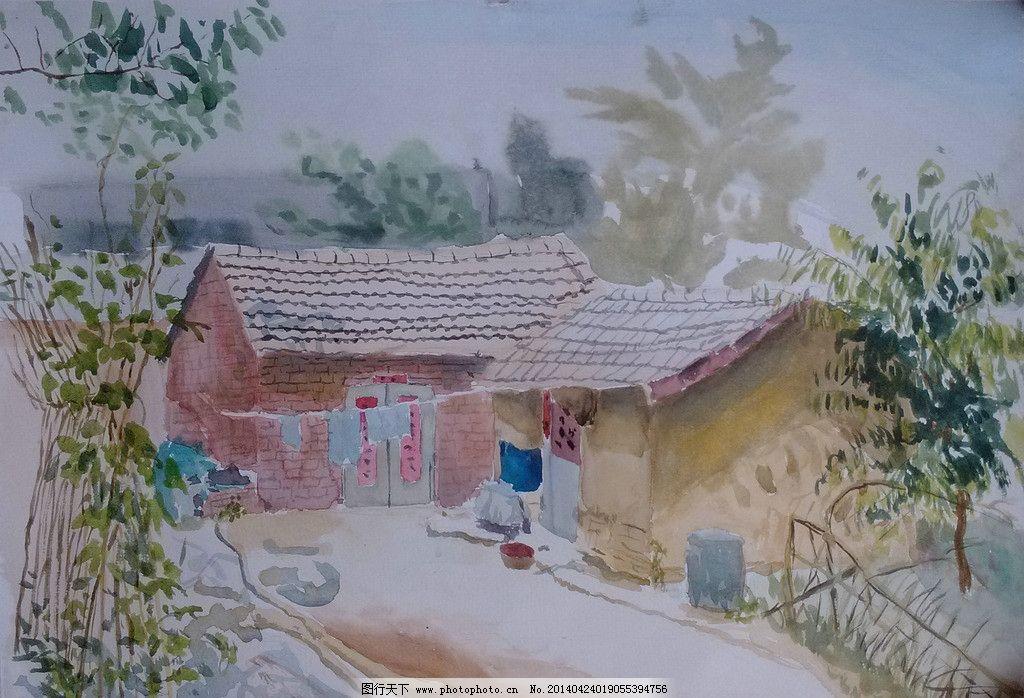 水彩风景 水彩 水彩写生 风景水彩 水彩素材 水彩房屋写生 绘画书法