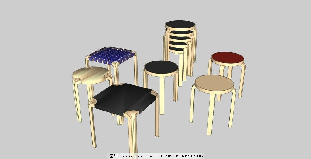 方凳子圆凳子组合图片_其他_3d设计_图行天下图库