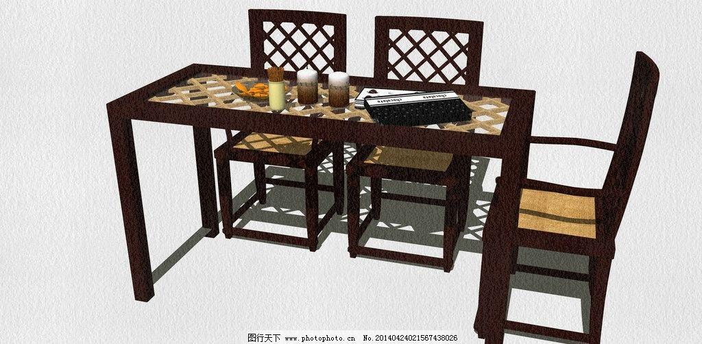 中式餐桌和椅子 餐桌椅 太师椅 古画 木椅 折叠椅 布椅 电脑椅 沙发椅