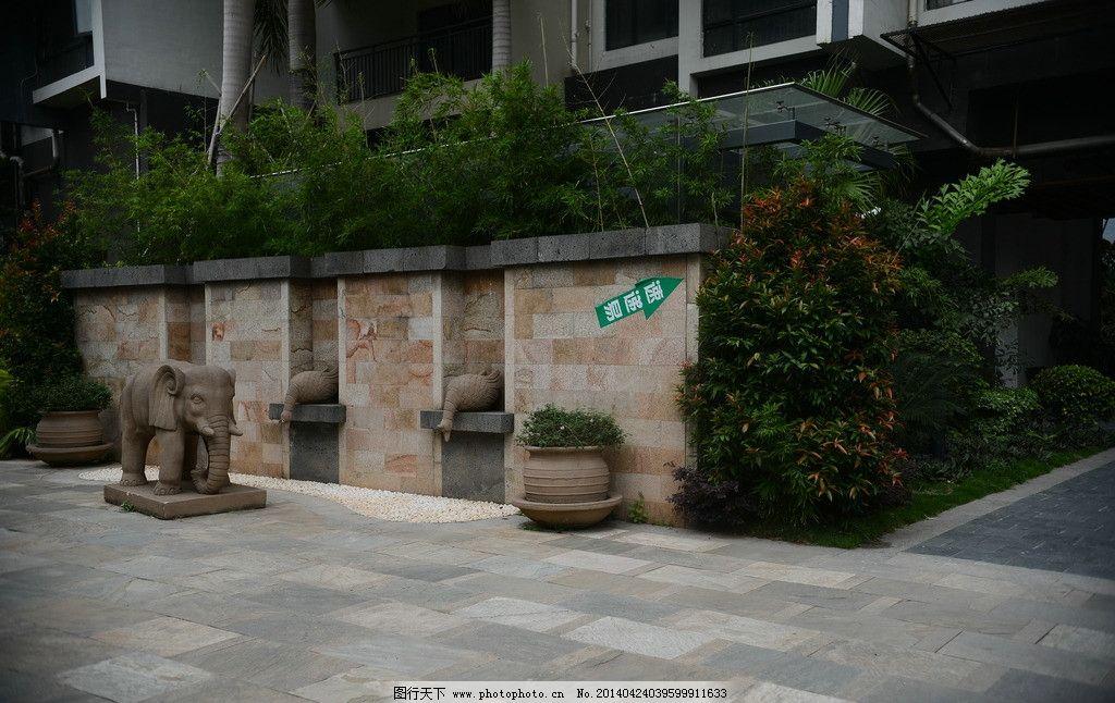 小区景观 小区绿化 园林 树 大树 建筑小区 植物 花草 绿化 花园 泰式