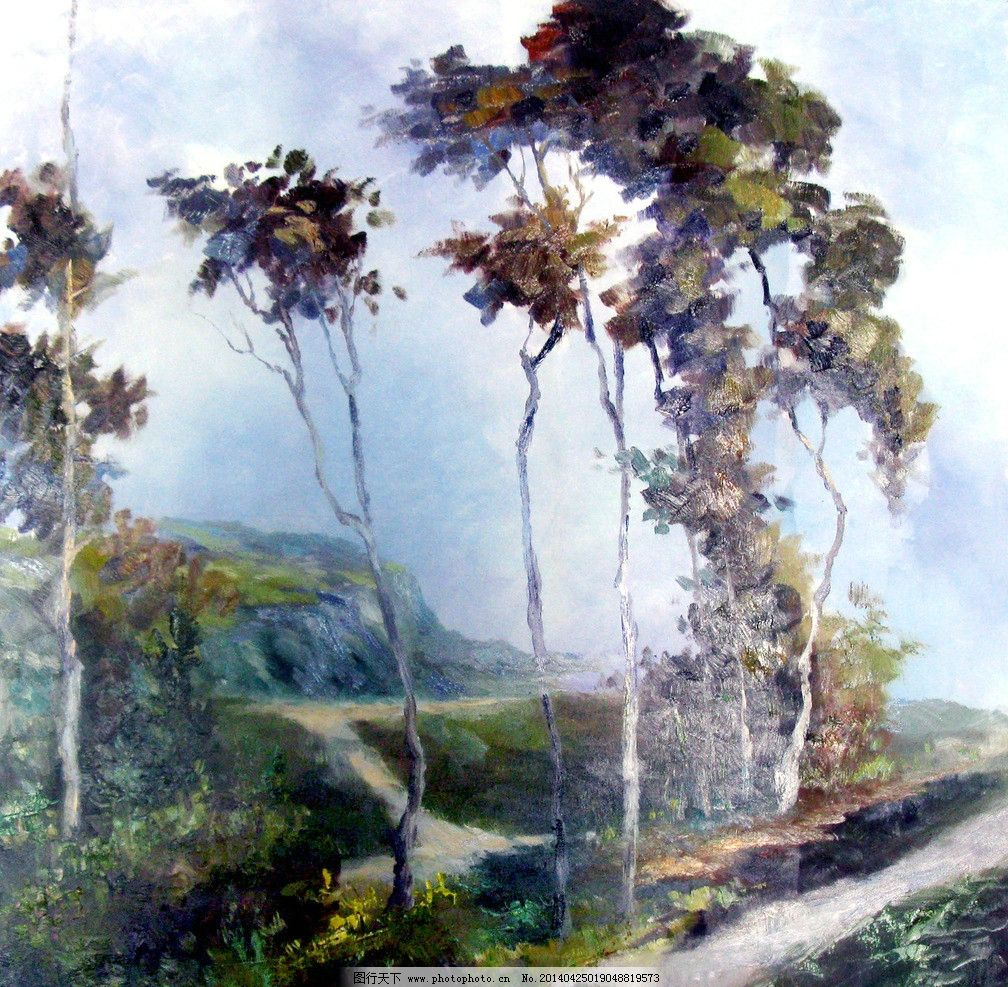 大树 油画 风景油画 写生 外国油画 绘画 绘画书法 文化艺术