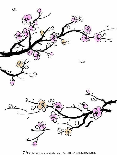 水墨梅花免費下載 粉色 古樸 梅花 樹 水墨 油畫 水墨 油畫 梅花 樹圖片