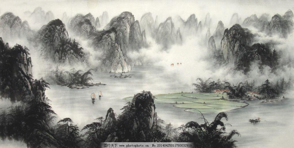 黑白水墨 黑白水墨免费下载 山水 石头 水墨画 家居装饰素材 山水风景图片
