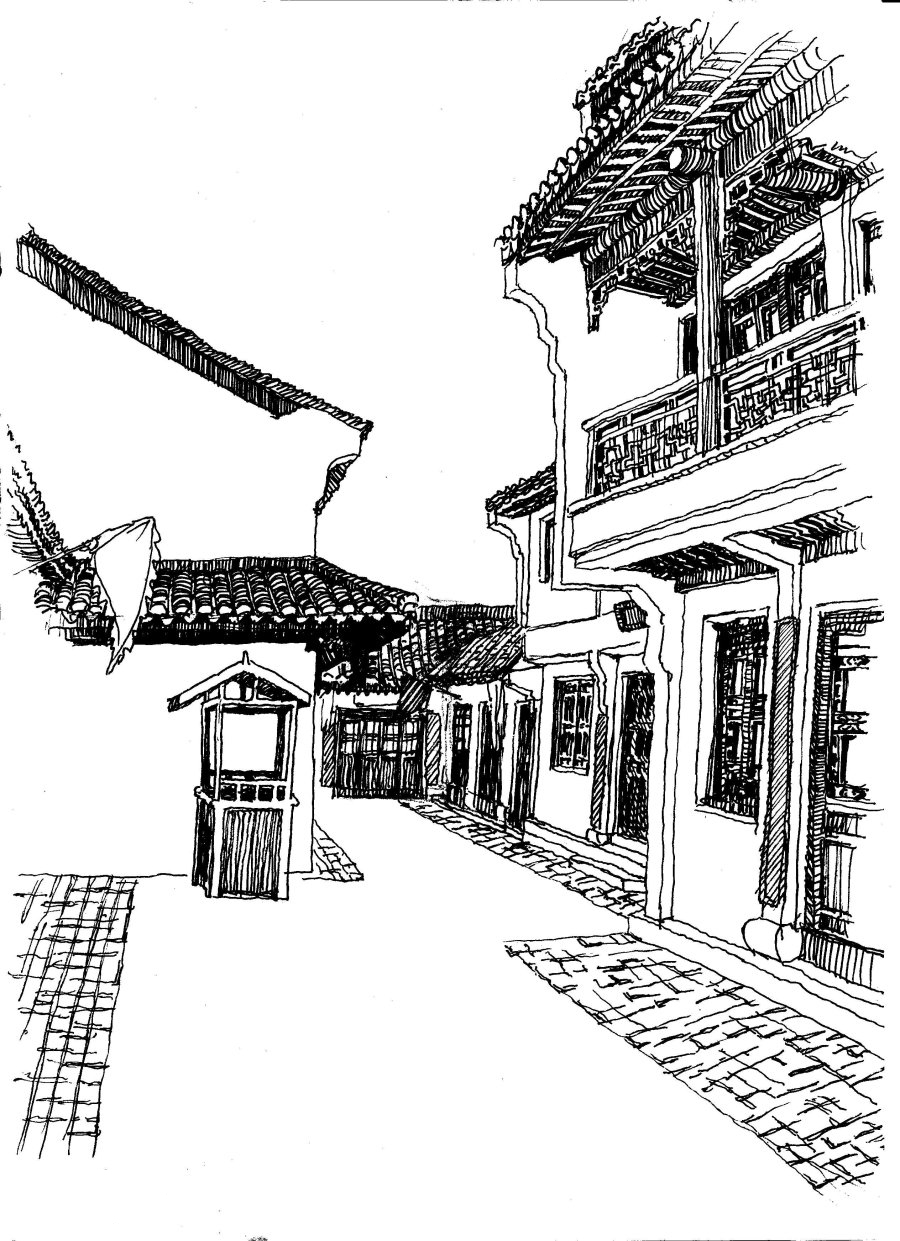 线描古街 插画 插图 低碳 房子 古镇 绘画 绘画书法 线描房子免费下载