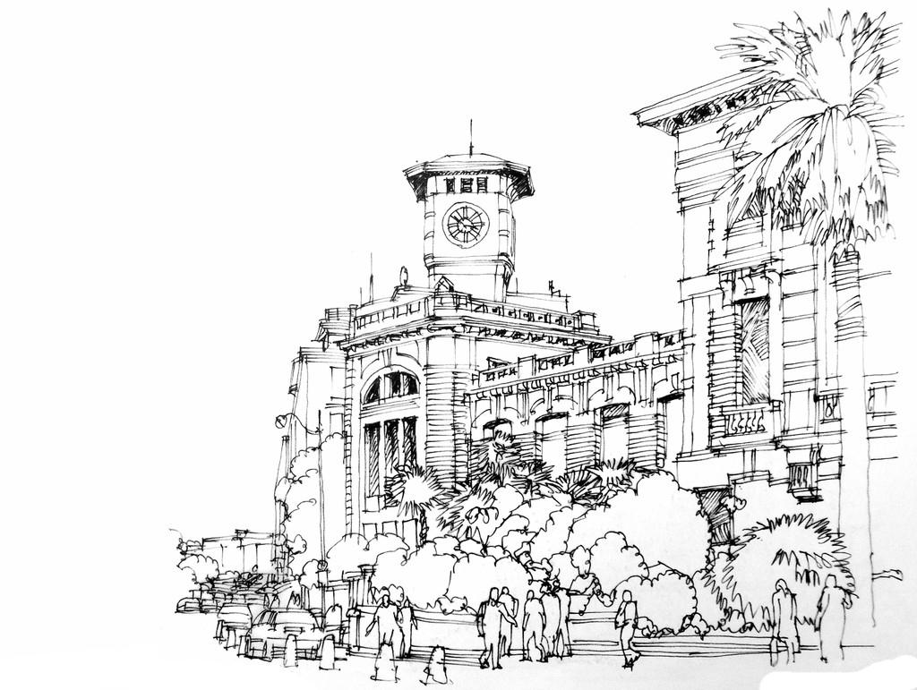 手绘建筑速写矢量素材免费下载