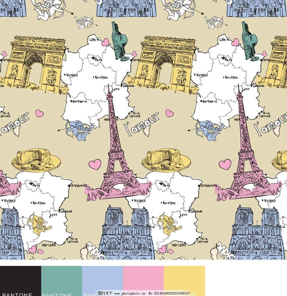 巴黎铁塔凯旋门素材图片