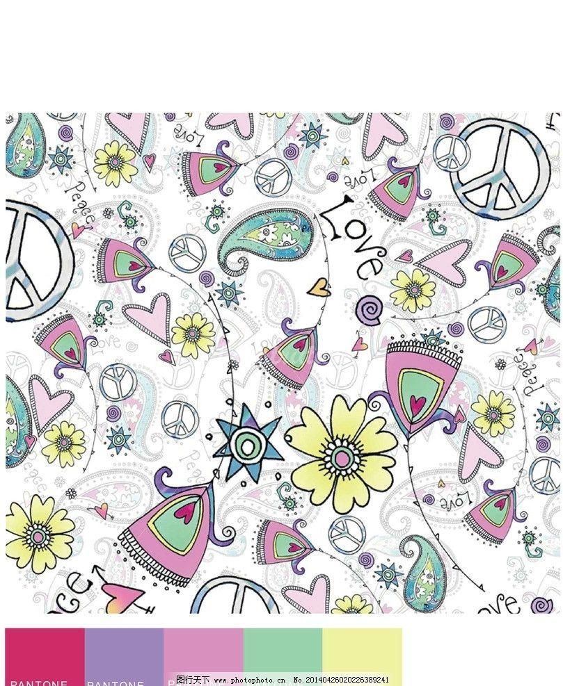 创意花儿素材 矢量 素材 卡通 动物 印花 花儿朵朵 底纹背景 底纹边框