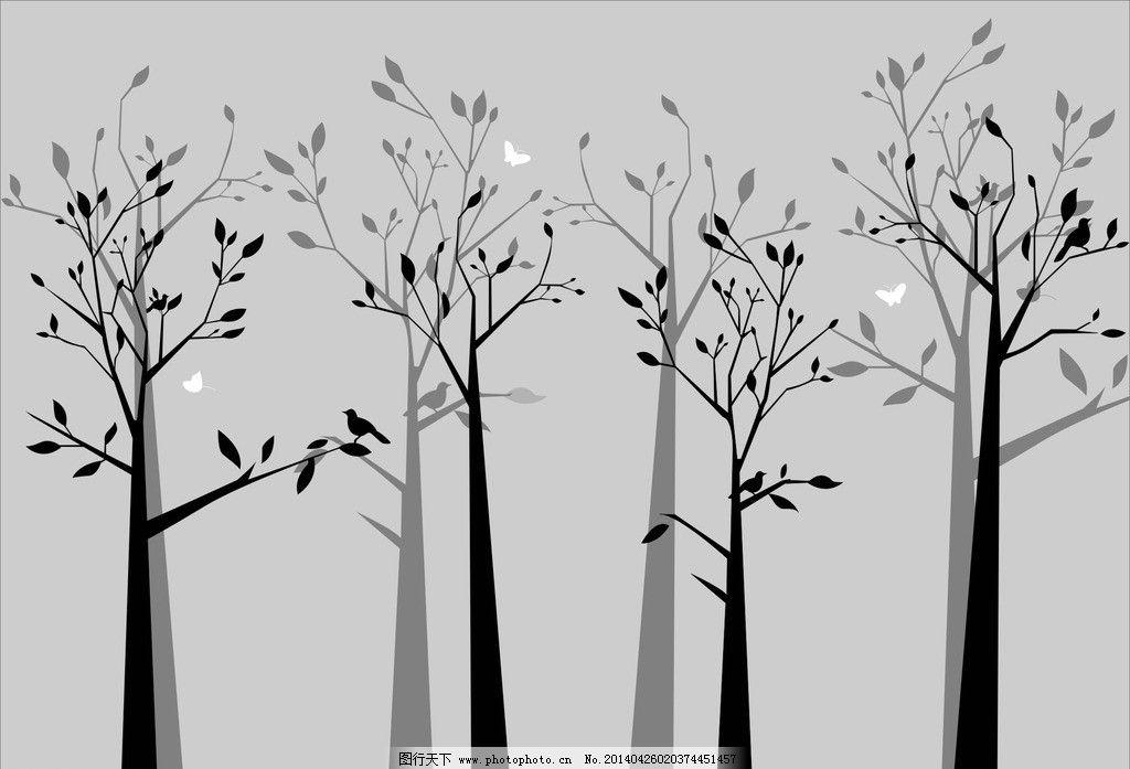 简约树林 矢量图图片