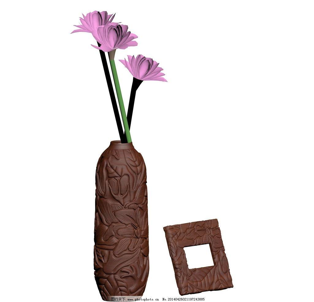 浮雕 木雕效果图 浮雕效果图 镜框 镜框效果图 中式木雕 花瓶 瓶子
