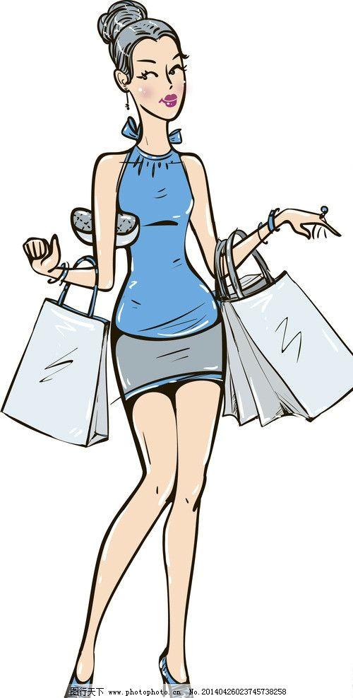 时尚少女 手绘少女 手绘服装设计 潮流 设计 购物 性感 时装手稿 女孩
