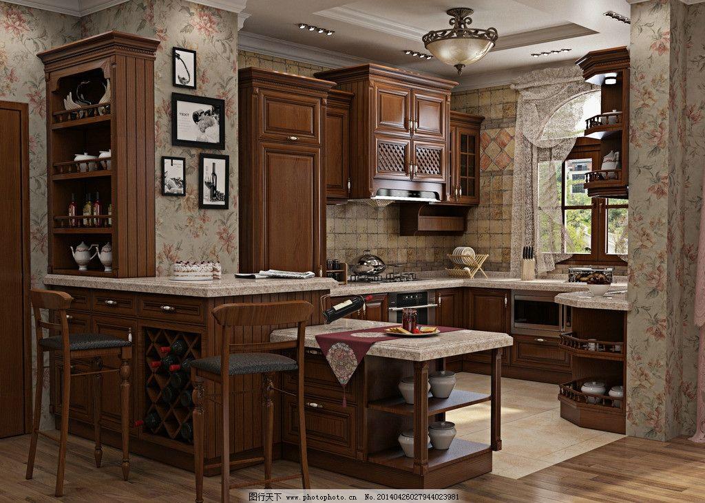 实木橱柜 现代 厨房 西门子 烟机 灶具 欧式 开放图片