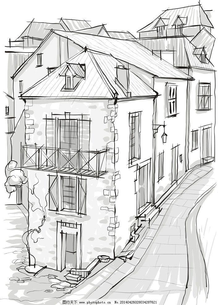 建筑草图 手绘建筑 素描 建筑 建筑剪影 建筑素描 建筑速写 都市剪影