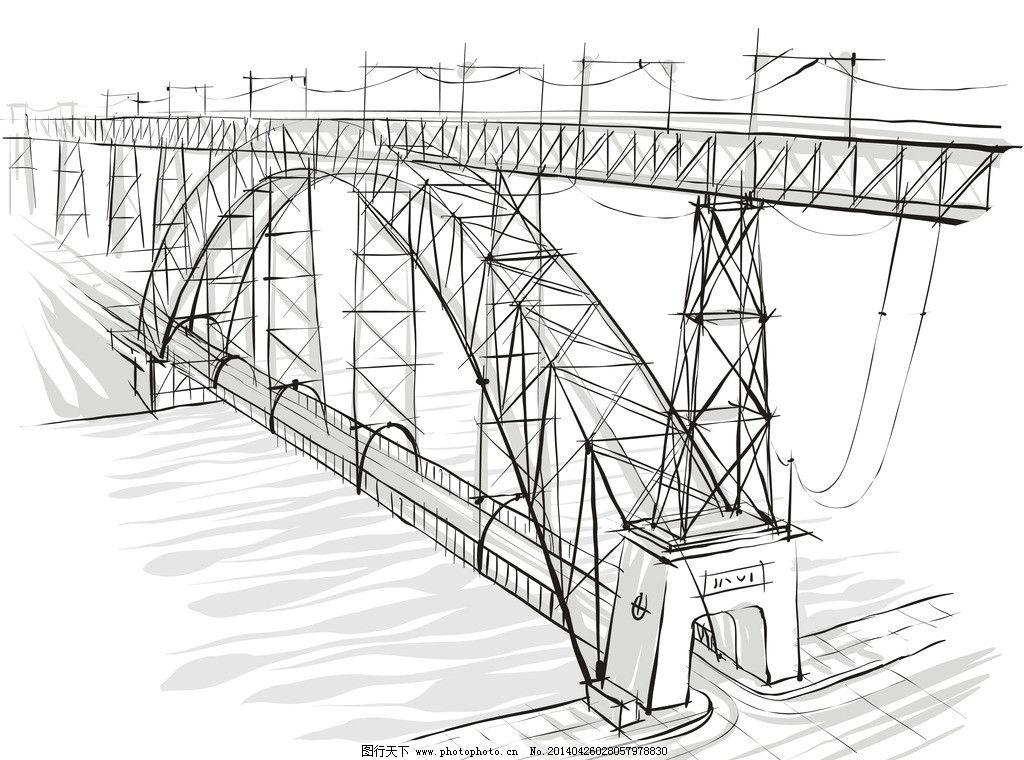 手绘桥梁图片_建筑设计_环境设计_图行天下图库