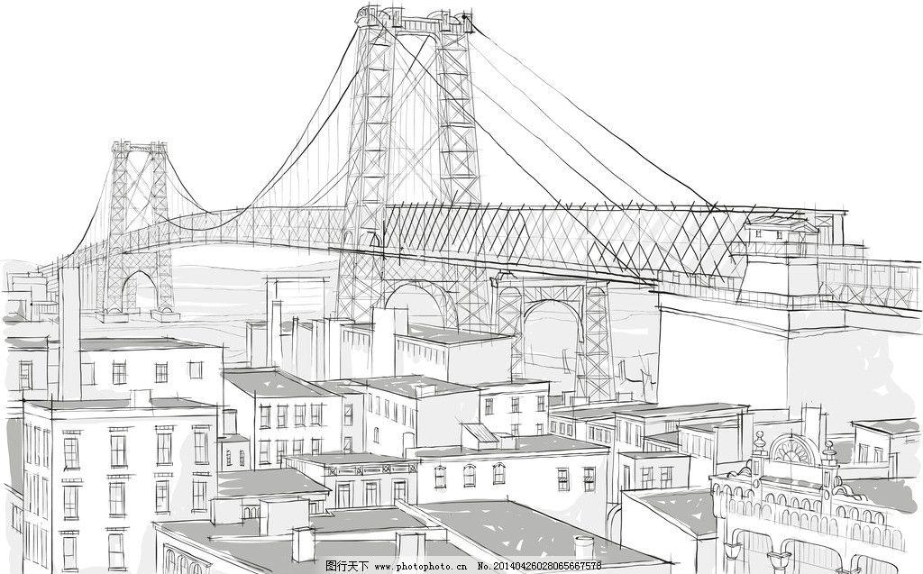 建筑草图 手绘建筑 大桥 桥梁 素描 建筑 建筑剪影 建筑素描 建筑速写