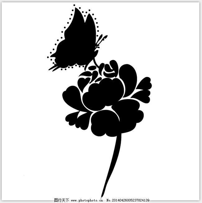 蝴蝶与花免费下载 底纹 黑白 蝴蝶 花 蝴蝶 花 黑白 底纹 矢量图 花纹