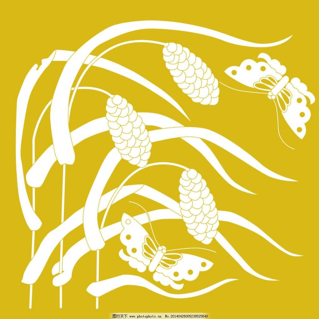 风景图案底纹免费下载 风景底纹 蝴蝶 日式底纹 日式花纹