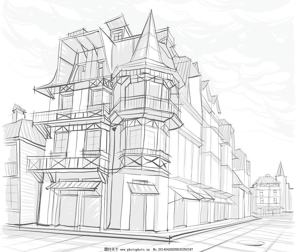 手绘建筑 素描 建筑 建筑剪影 建筑素描 建筑速写 都市剪影 城市建筑