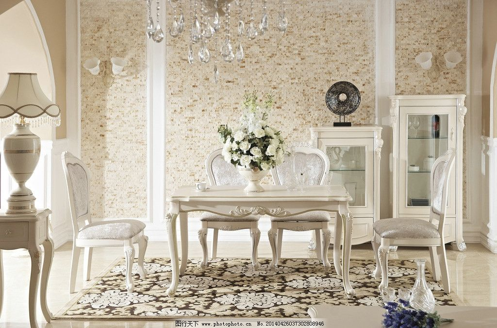 餐桌 欧式餐桌 欧式 椅子 深色 餐边柜 酒柜 桌面 地毯 地板 家居生活