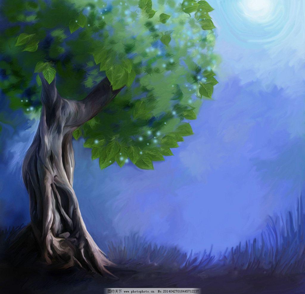 童话背景 童话 卡通 漫画 手绘 背景 大树 风景漫画 动漫动画 设计