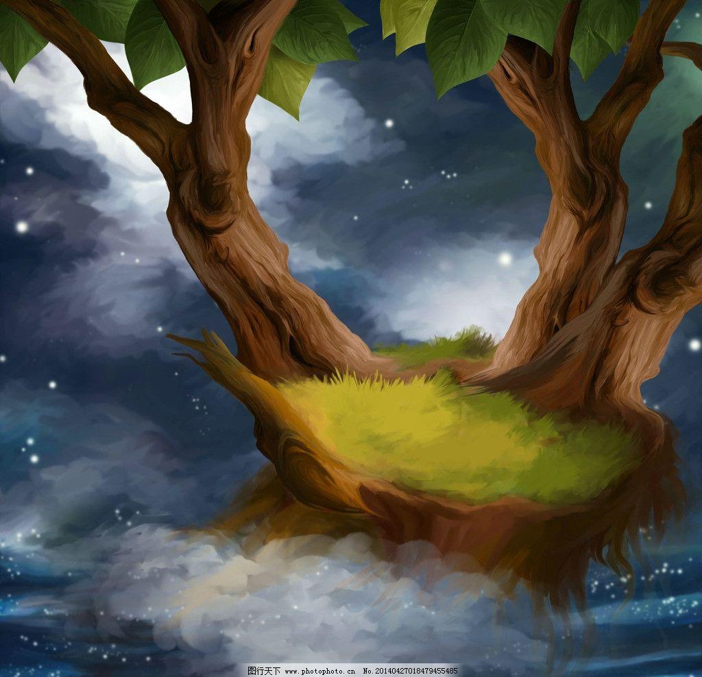 童话背景 手绘 童话 卡通 背景 素材 风景漫画 动漫动画 设计 300dpi