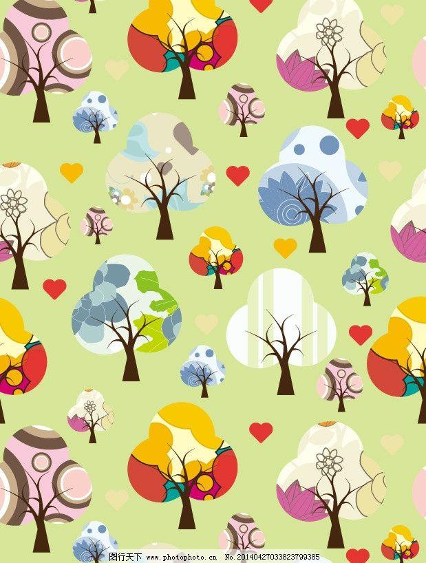 设计图库 其他 其他图片素材  五彩的树 树木 小树 古典花纹 唯美插画
