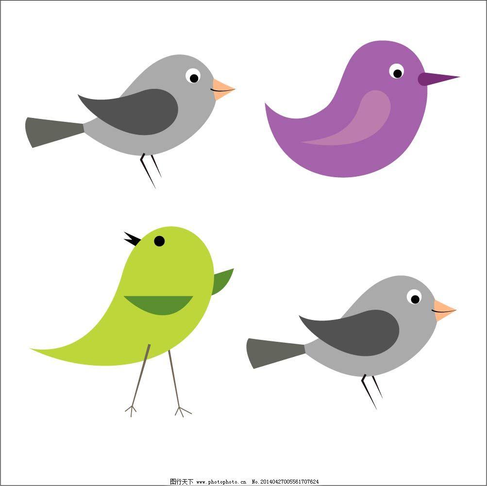 插画素材 卡通小鸟