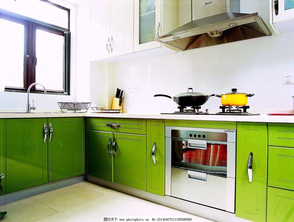 绿色厨房设计 绿色厨房设计免费下载 橱柜 室内 装修 家居装饰素材