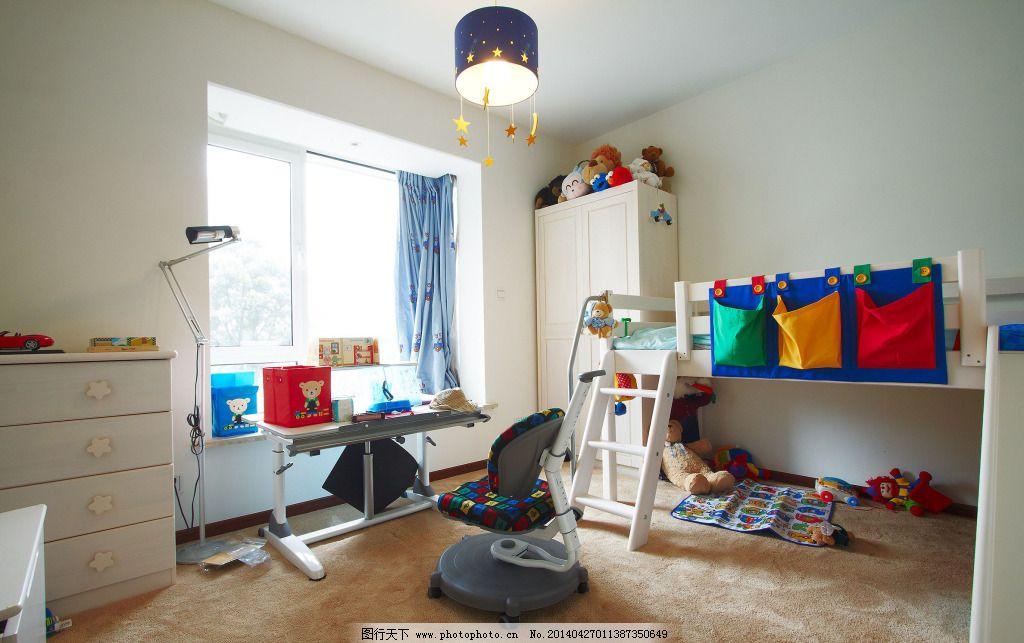 白色卧室儿童房_室内设计_装饰素材_图行天下图库