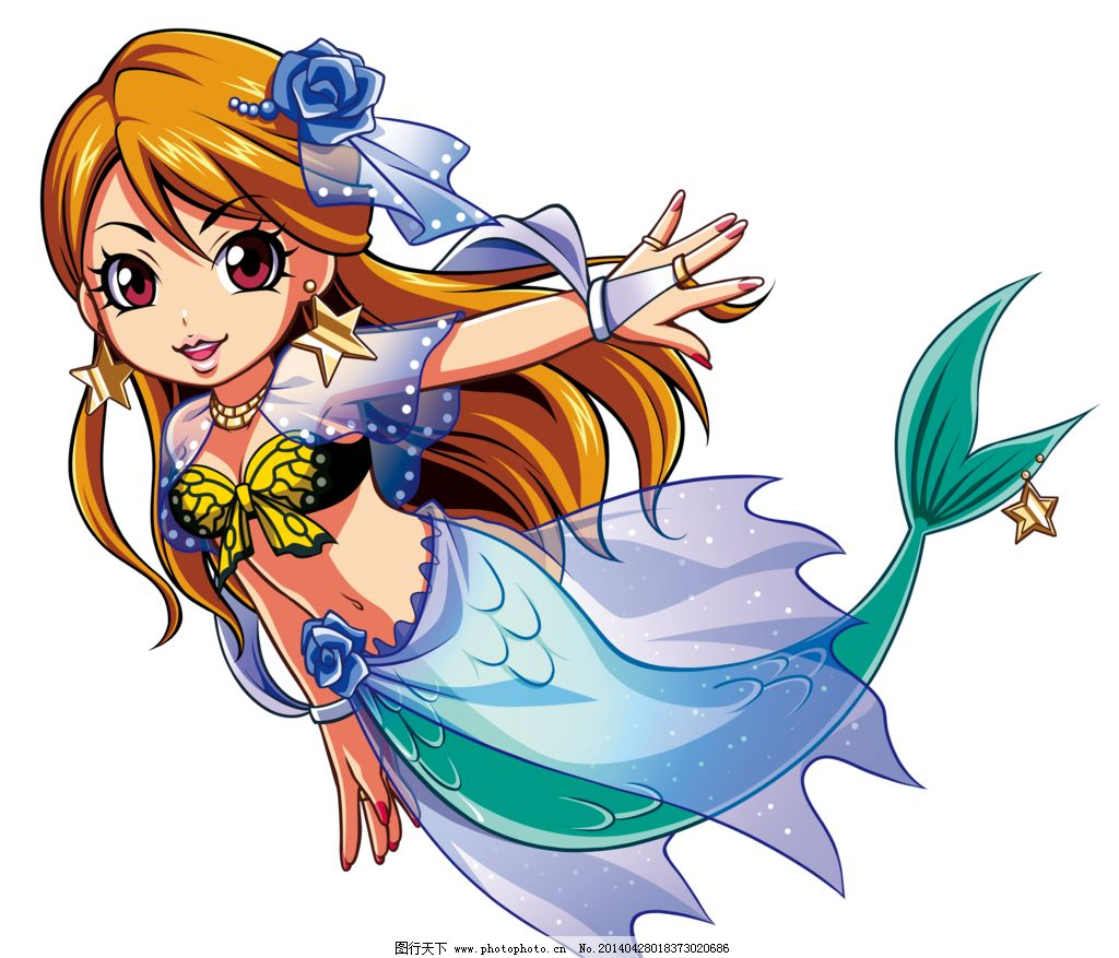 卡通 漫画 人鱼 耳环 长发 女孩 美人鱼 星星 动漫人物 动漫动画 设计图片