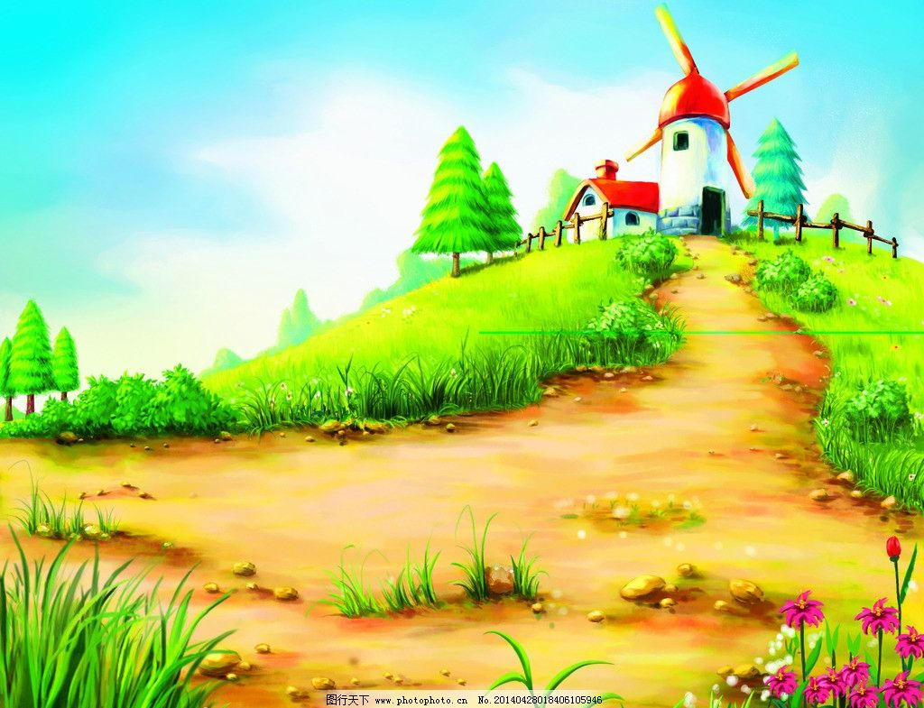 动漫风景背景 草地 风车 松树 手绘 天空 花朵 漫画背景 风景漫画