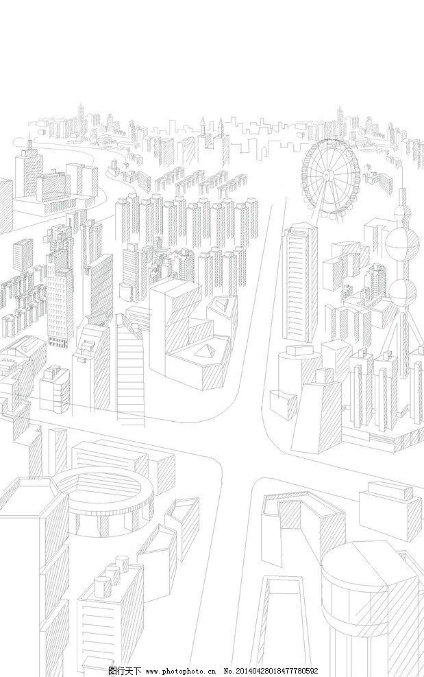 手绘城市线条 手绘 城市 线条 黑白 插画 背景 风景漫画 动漫动画
