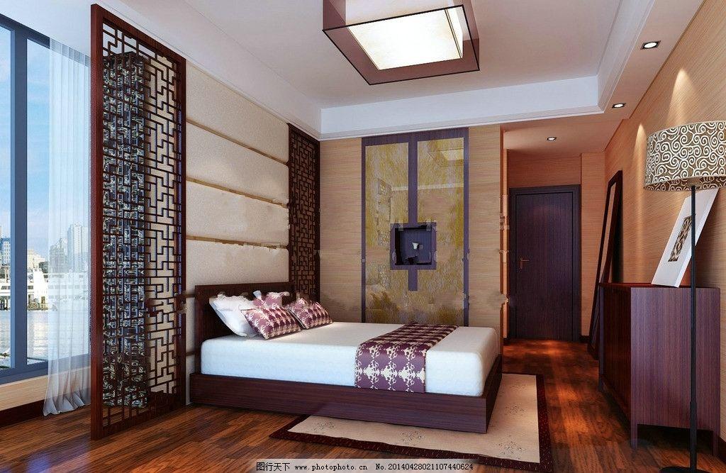 卧室吊顶 中式木地板