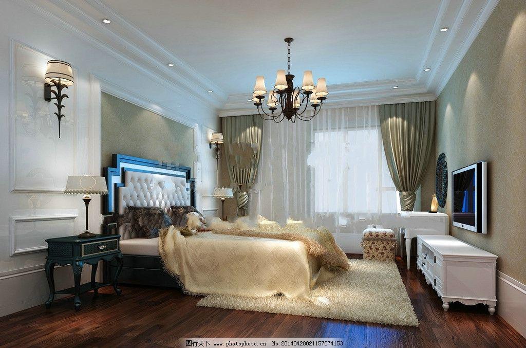 欧式卧室 卧室吊顶 欧式木地板 床头墙 3d模型 室内模型 3d设计模型