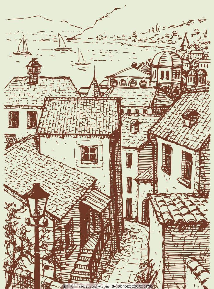 手绘建筑 欧洲建筑 素描 线描 绘画书法 建筑园林 欧式建筑 建筑 矢量