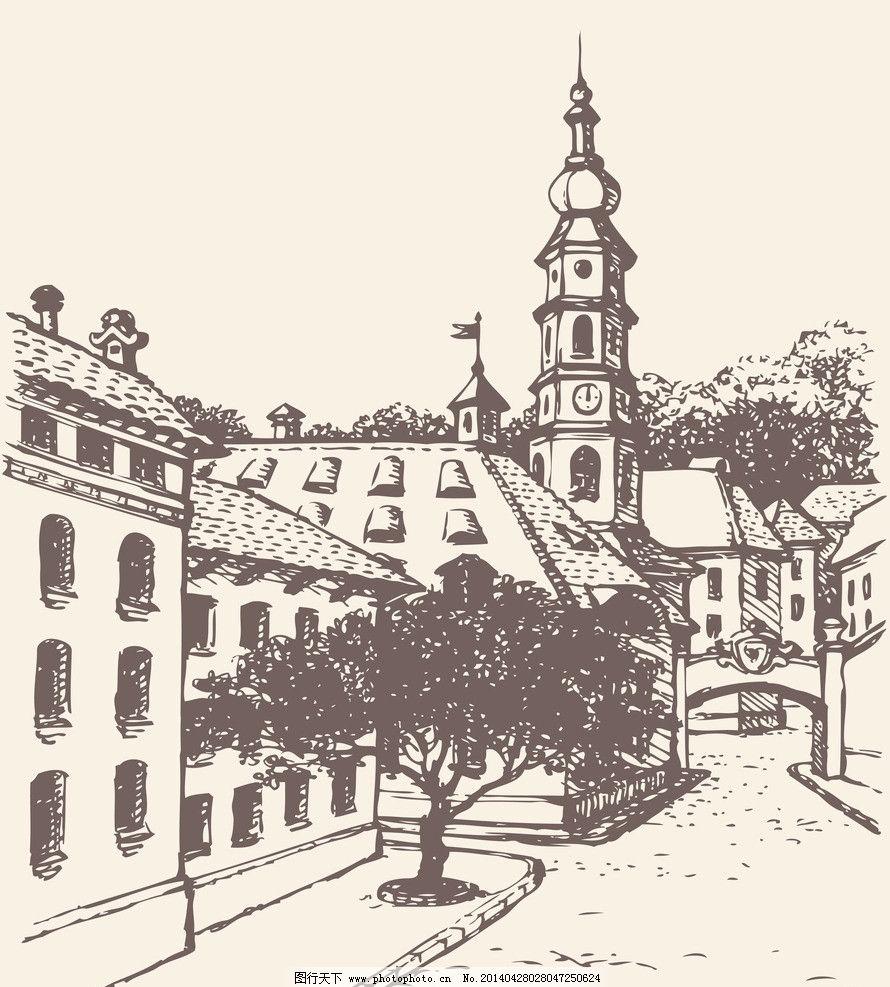 欧洲建筑 素描 线描 绘画书法 建筑园林 欧式建筑 建筑 矢量 城市建筑
