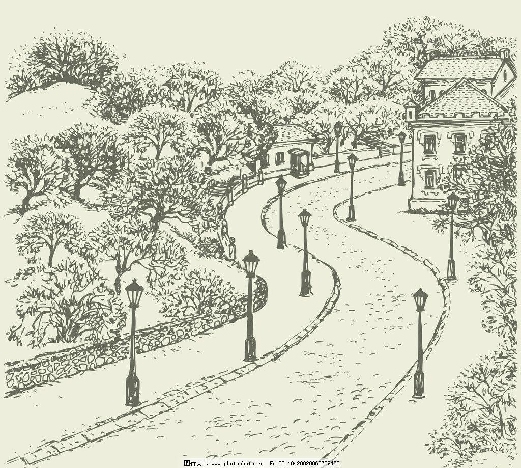手绘建筑 道路 马路 公路 欧洲建筑 素描 线描 绘画书法 建筑园林